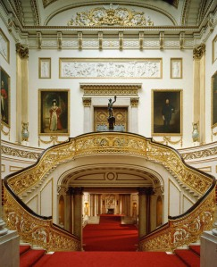 Buckingham Palace Grand Staircase. MUST CREDIT: Derry Moore/ Royal Collection © 2008, Her Majesty Queen Elizabeth II. SHD TRAVEL MARCH 2 LONDON