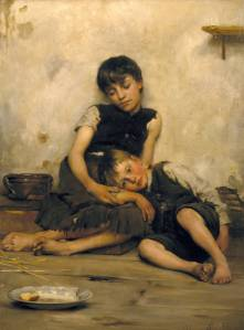 Orphans 1885 by Thomas Benjamin Kennington 1856-1916