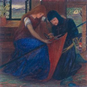 Lady Affixing Pennant to a Knight's Spear c.1856 Elizabeth Eleanor Siddal 1829-1862 Bequeathed by W.C. Alexander 1917 http://www.tate.org.uk/art/work/N03202